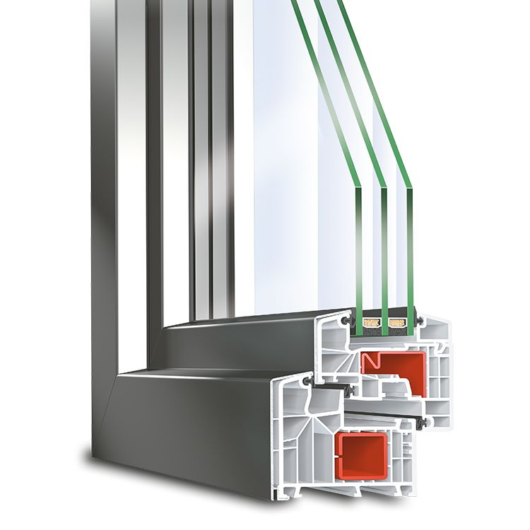 Aluclad uPVC window profile IDEAL TwinSet 8000S